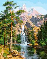 Раскраска для взрослых Водопад в сосновом лесу (NB957R) 40 х 50 см DIY Babylon Premium (в раме)