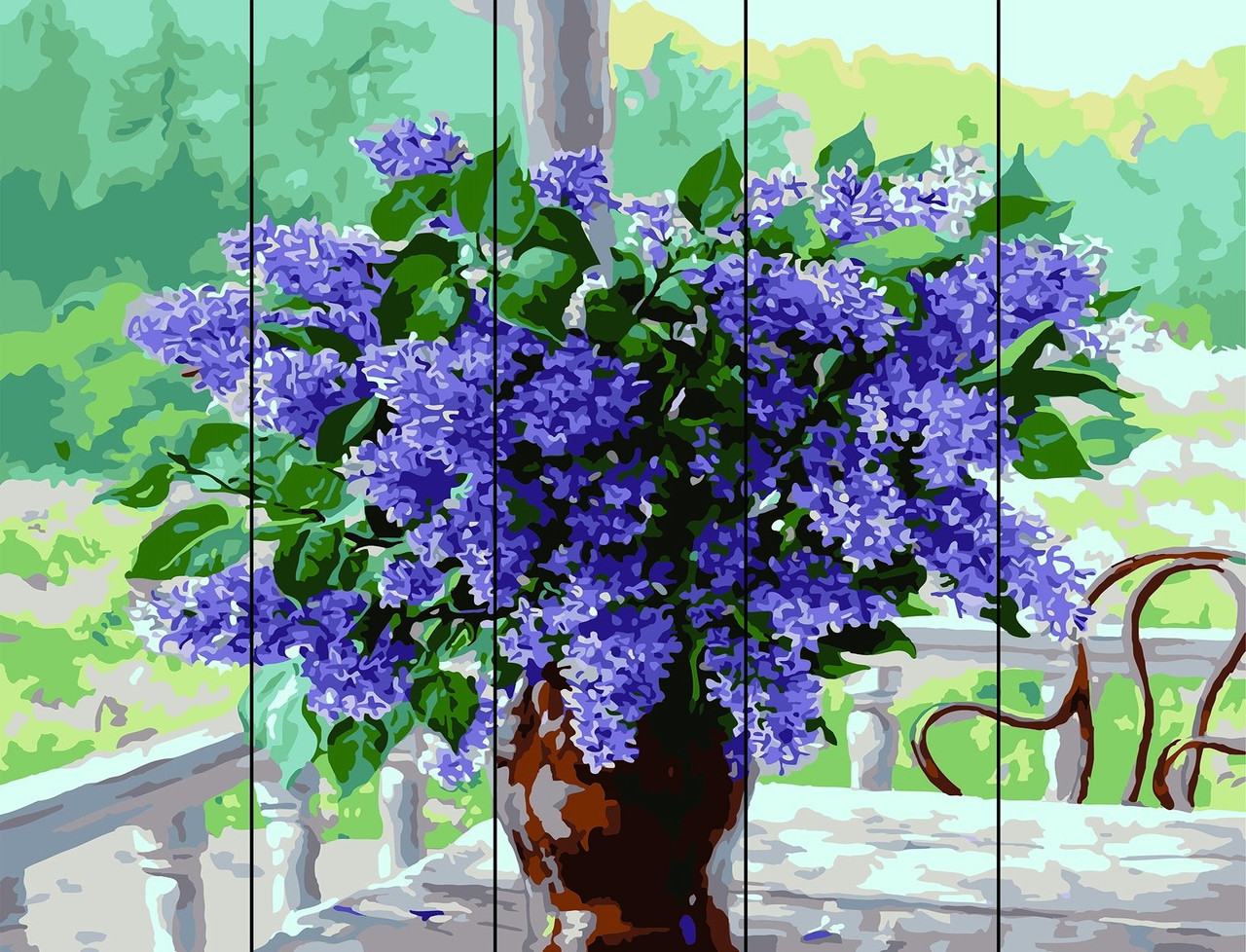 Картина по номерам по дереву Сирень в вазе (RA-F17) 40 х 50 см Rainbow Art