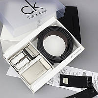 Ремень мужской кожаный черный модный стильный подарочный Кельвин Кляйн с двумя пряжками