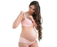 3068 Бюстгальтер для беременных хлопковый розовый с серым, фото 1