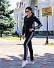 Стильный женский спортивный костюм с вставками из вязки: кофта с капюшоном и штаны, фото 7