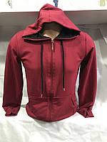 Кофта мужская на молнии с капюшоном размер норма 46-52, красного цвета