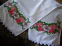"""Вышитый рушник """"Троянди, лілії"""" (арт. Н-23.1.2), фото 1"""