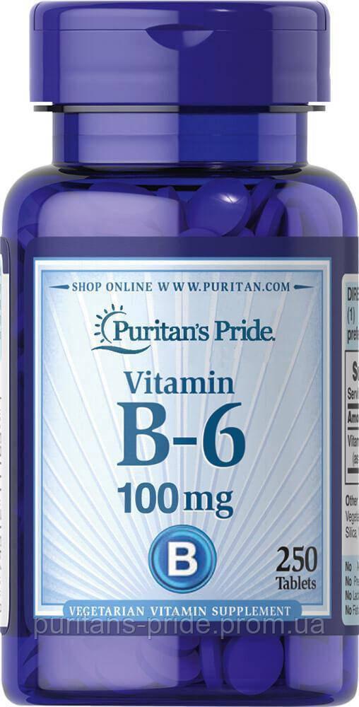 Вітамін В-6, Піридоксин, Puritan's Pride Vitamin B-6 100 mg 250 таблеток