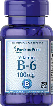 Вітамін В-6, Піридоксин, Puritan's Pride Vitamin B-6 100 mg 250 таблеток, фото 2
