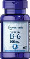Витамин В-6, Пиридоксин, Puritan's Pride Vitamin B-6 100 mg 250 таблеток
