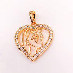 Кулон Xuping Jewelry Мать с младенцем, медицинское золото, позолота 18К. А/В 4213