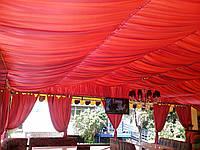 Драпировка потолка тканью для летнего кафе