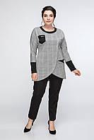 Женская туника теплая повседневная качественная 50, 52 р серого цвета