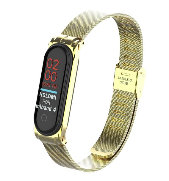 Металлический браслет Цвет Золото вариант №2 для фитнес трекера Xiaomi mi band 4 / 3 ремешок аксессуар замена