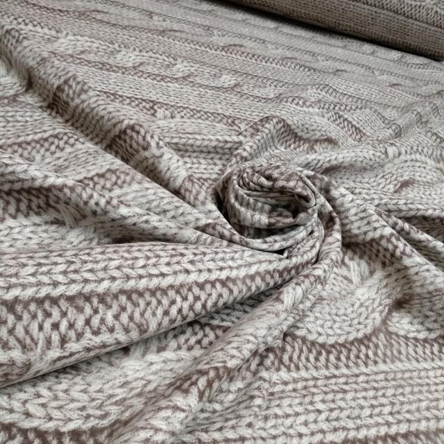 фланель 100% хб вязанка бежевая для постельного белья ширина 220см.