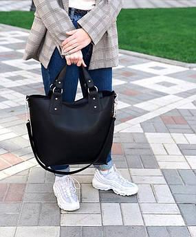 Большая вместительная сумка трапецевидной формы с клатчем