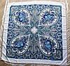 Платок павлопосадский белый шерстяной (140см) 606009, фото 3