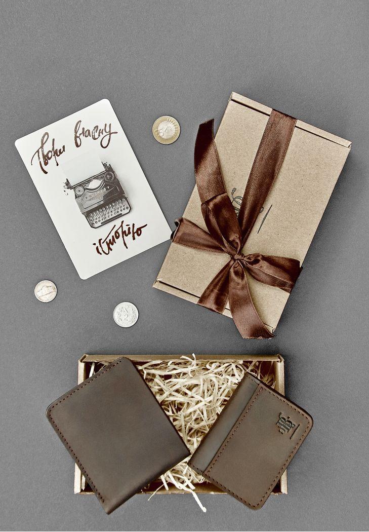 """Мужской подарочный набор кожаных аксессуаров """"Бангкок"""": портмоне и кард-кейс. Цвет коричневый"""