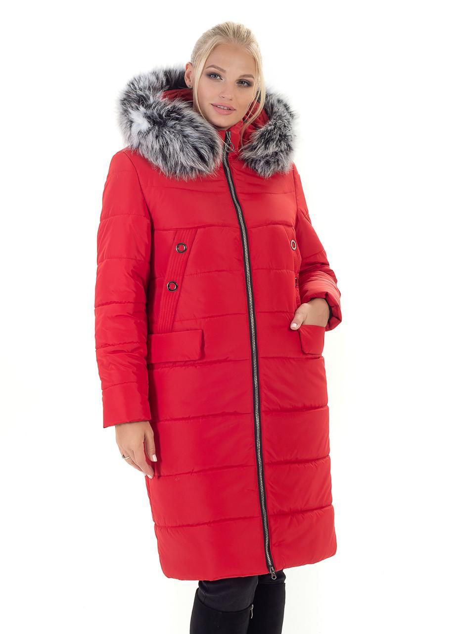 Пальто зимнее женское красного цвета