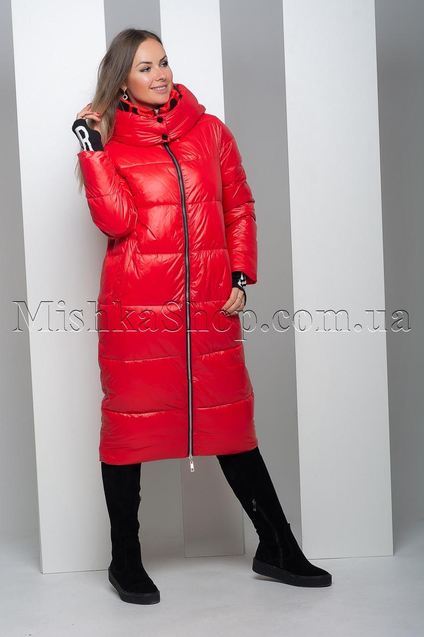 Модный тёплый пуховик красного цвета с воротником-стойкой Rufuete 7681