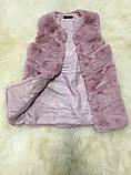 Жилетка из меха кролика рекс (искусственная) розовая, фото 6
