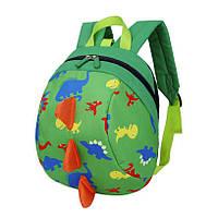 Детский рюкзак Динозавр с ремешком и анти-потерянным ремнем Зеленый (gab_krp220XxFb34801)