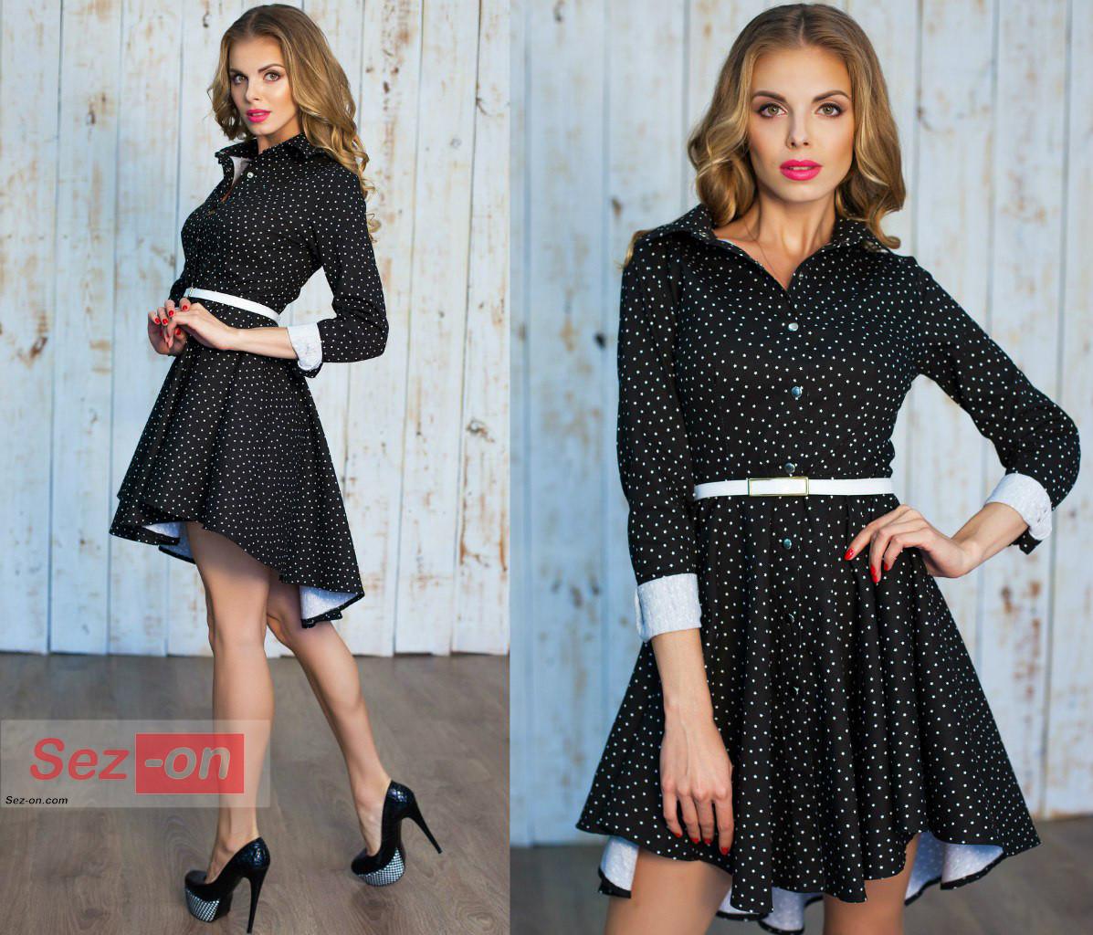 Сукня жіноча джинс з принтом Зірочки ― Чорний