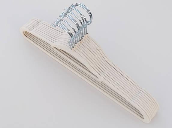 Плечики длина 41,5 см, в упаковке 10 штук, бежевого цвета, тремпеля вешалки флокированные, фото 2