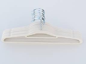 Плечики длина 41,5 см, в упаковке 10 штук, бежевого цвета, тремпеля вешалки флокированные, фото 3