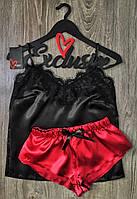 Женская атласная пижамка с черной майкой и цветными шортами, одежда для сна и дома