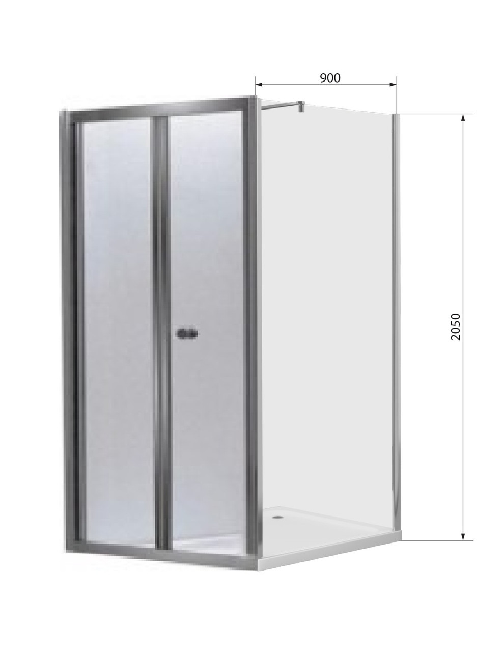 Душова кабіна прямокутна 80х90 прозора bifold Eger Угорщина