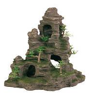 Декорация Trixie Скала с пещерой и растениями, 31 см.