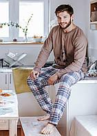 Чоловіча піжама на довгий рукав KEY MNS-041 з фланеливими штанами XXL