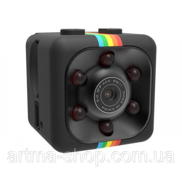 Мини камера SQ-11 SPORTS HD Черная, Крепление, Кабель