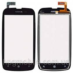 Сенсорный экран (touchscreen) для Nokia Lumia 610, черный, оригинал