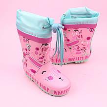 Резиновые детские сапоги на девочку розовые тм Bi&Ki размер 24,25,26,27