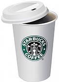 Чашка керамическая с силиконовой крышкой Supretto Starbucks 350 мл Белая
