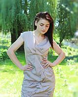 Стильное красивое кофейное платье с мятой тканью