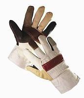 Перчатки хб/кожа коричневые