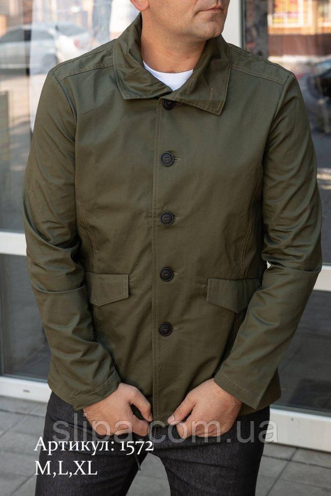 Мужская куртка пиджак из коттона цвета хаки