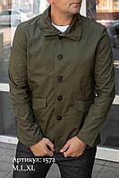 Мужская куртка пиджак из коттона цвета хаки, фото 1