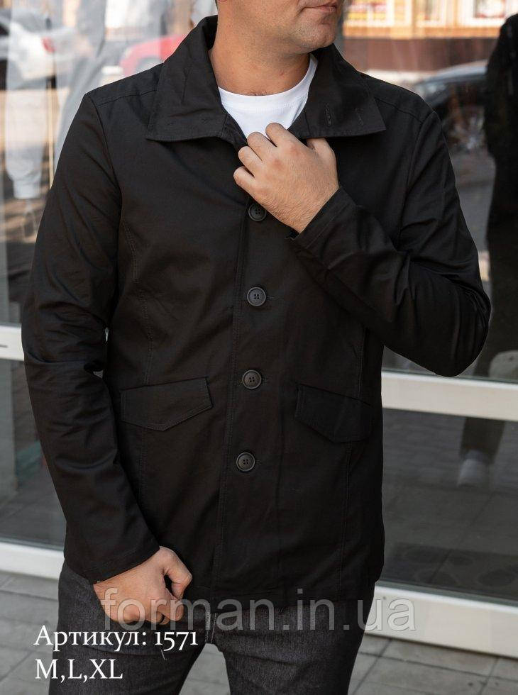 Мужская куртка пиджак из коттона чёрного цвета