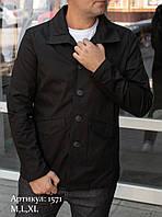 Мужская куртка пиджак из коттона чёрного цвета, фото 1