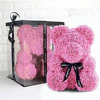 Мишка из искусственных 3d роз в коробке 25 см светло розовый склад 1 шт