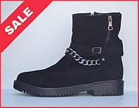Удобные и теплые женские замшевые ботинки