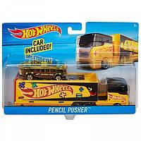 Трейлер Хот Вилс Автовоз со Школьным автобусом Hot Wheels Super Rigs Vehicle DXB40