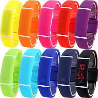 Спортивные силиконовые водонепроницаемые наручные LED часы - браслет 2 в 1, 1 Унисекс