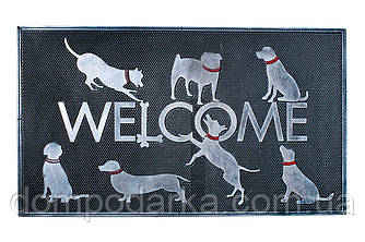 Коврик для прихожей (Welcome) Собаки, резина