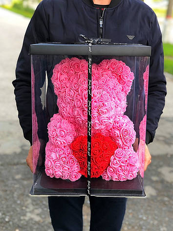 Мишка в коробке из роз 40 см цвет бордо, фото 2