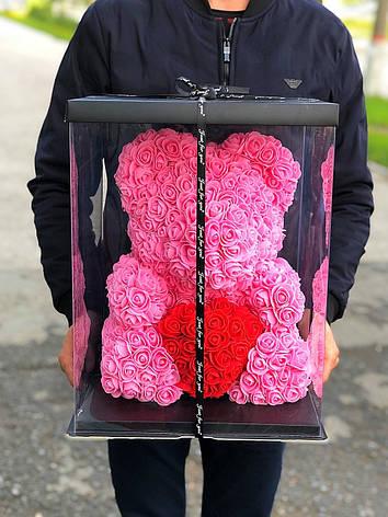 Мишка в коробке из роз 40 см РОЗОВЫЙ, фото 2