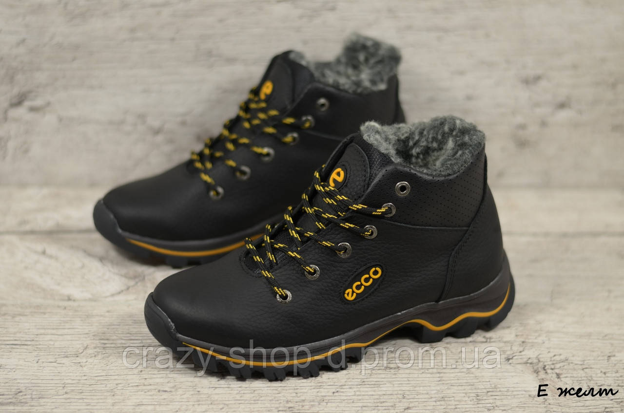 Детские кожаные зимние ботинки Ecco  (Реплика) (Код: E желт ) ►Размеры [35,36,37,38,39]