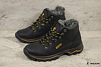 Детские кожаные зимние ботинки Ecco  (Реплика) (Код: E желт ) ►Размеры [35,36,37,38,39], фото 1