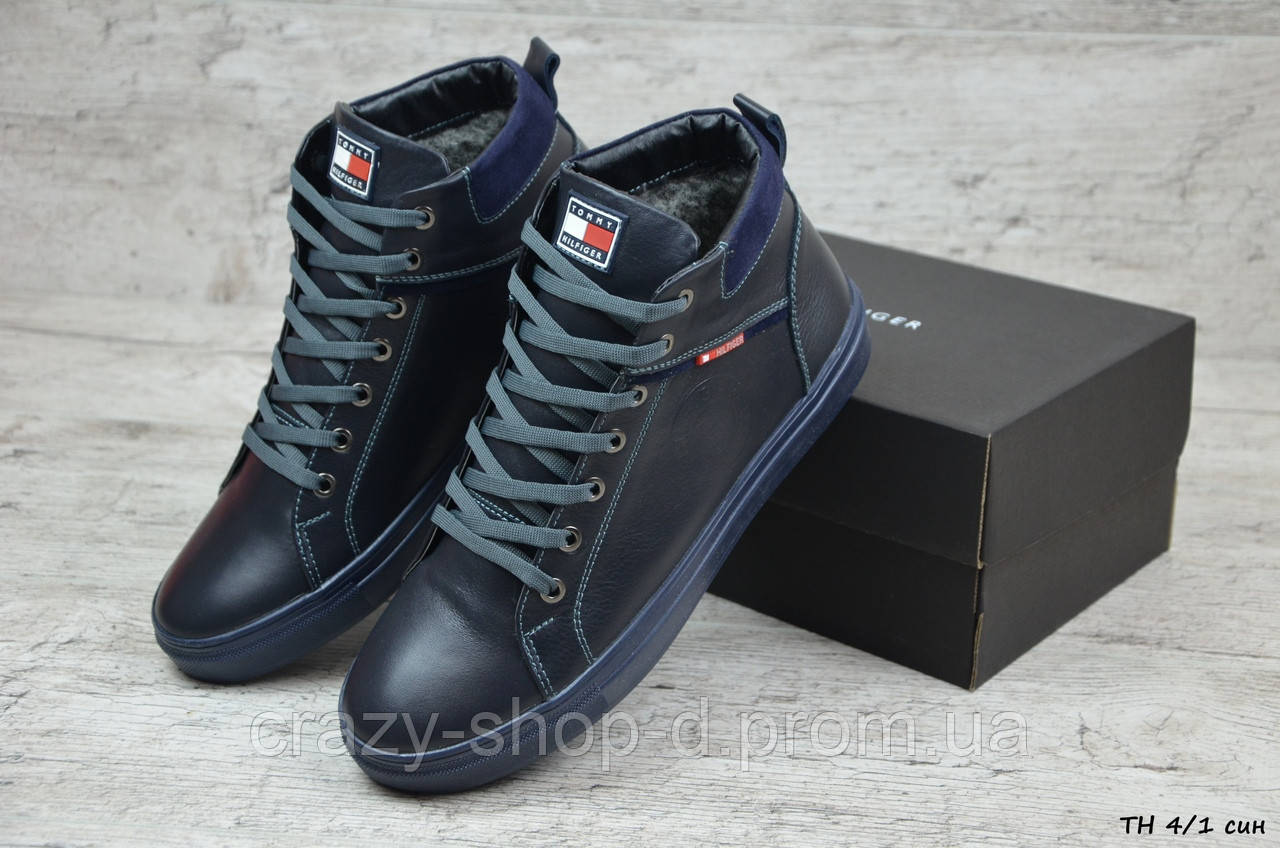 Мужские кожаные зимние ботинки Tommy Hilfiger  (Реплика) (Код: ТН 4/1 син  ) ►Размеры [40,41,42,43,44,45]