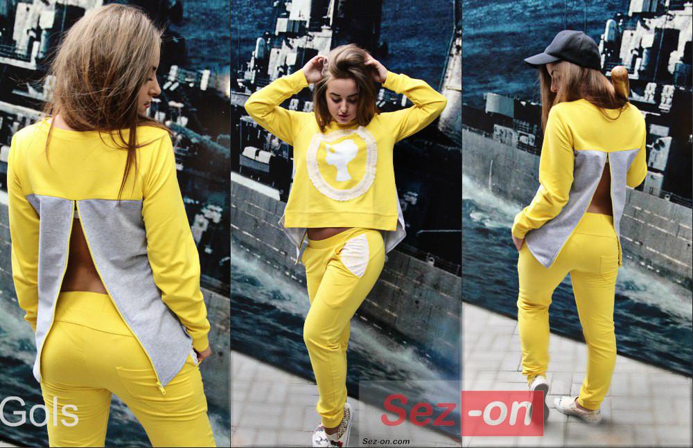Костюм спортивний жіночий з мереживом ― Жовтий